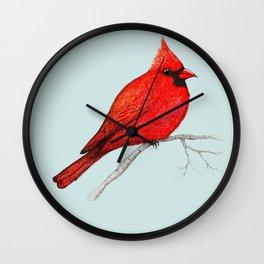 Northern cardinal pen drawing Wall Clock