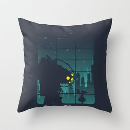 bioshock big daddy Throw Pillow