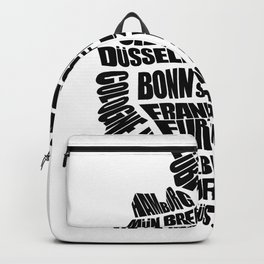 Germany Word Map - Black and White Backpack