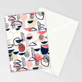 Cheli - modern abstract art print brushstroke painting trendy hipster peach pink pastel navy abstrac Stationery Cards