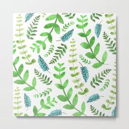 Greenery Leaves Pattern Metal Print