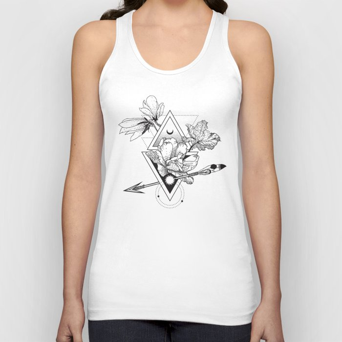 Alchemy symbol with moon and flowers Unisex Tanktop