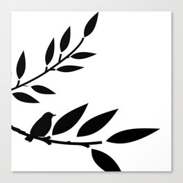 Bird and Branches Silhouette Canvas Print