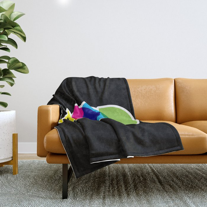 Mood Meme Colorful Geometric Typography Throw Blanket