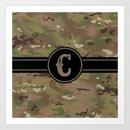 Camouflage Monogram: Letter C Art Print