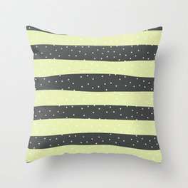 Christmas Simple seamless pattern Snow confetti on Grey and Pastel Yellow Lime Stripes Background Throw Pillow
