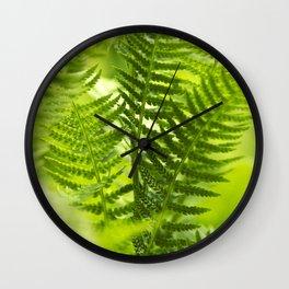 Green Fern Abstract Wall Clock