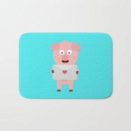 Cute Pig with Loveletter Bath Mat