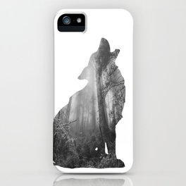 Wolf Silhouette | Forest Photography | Black and White iPhone Case