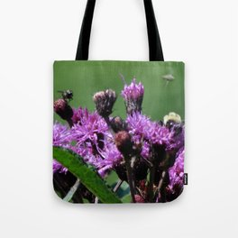 Violet Flowers Bee Photo Photograph 1  Tote Bag