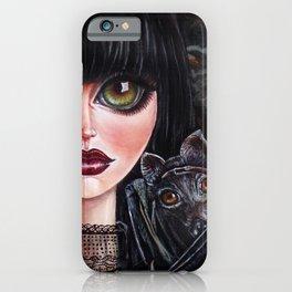 Batgirl Victorian Goth Girl with Grey Bat Big Green Eyes iPhone Case