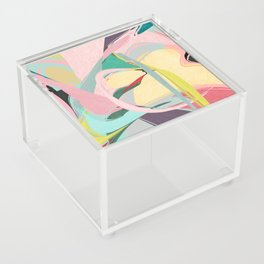 Shapes and Layers no.23 - Abstract Draper pink, green, blue, yellow Acrylic Box