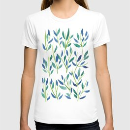Shades of Blue and Green Botanical Design T-shirt