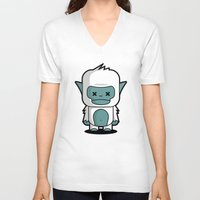 yeti V-neck T-shirts featuring Yeti by m. arief (mochawalk)