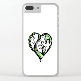 Birth Hearts No.4 - Green Clear iPhone Case
