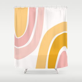 Abstract Shapes 37 in Mustard Yellow and Pale Pink Shower Curtain