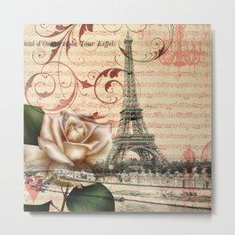 vintage white rose butterfly music notes floral eiffel tower paris art  Metal Print