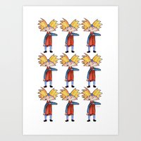 hey arnold Art Prints featuring Hey Arnold! Pattern by laura nye.