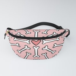 Pink dog bone pattern, with heart Fanny Pack
