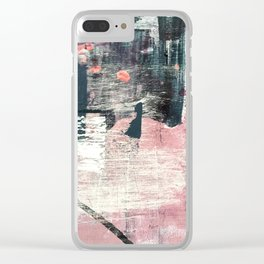 Sweet tooth [7]: a colorful abstract mixed media piece in pink, blues, and white Clear iPhone Case