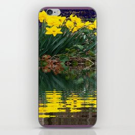 PUCE & YELLOW DAFFODILS WATER REFLECTION PATTERN iPhone Skin