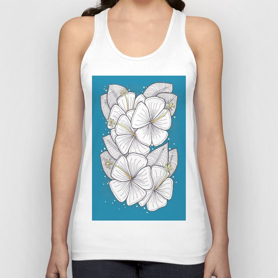 Zentangle Blue and Gold Hibiscus Blossoms for Flower Lovers Unisex Tank Top
