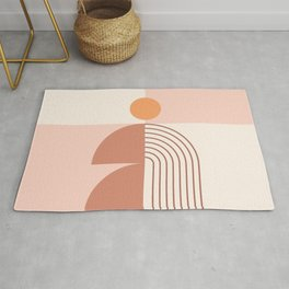 Geometric Shapes in Neutral Brown Shades (Sun and Rainbow Abstraction) Rug