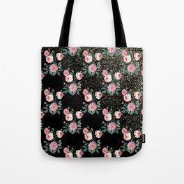 Romantic peony floral and golden confetti design Tote Bag