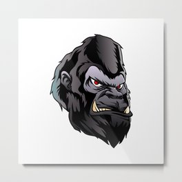 gorilla head illustration Metal Print