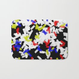 Primary Strokes - Abstract, primary colour & black and white raw paint brush strokes Bath Mat