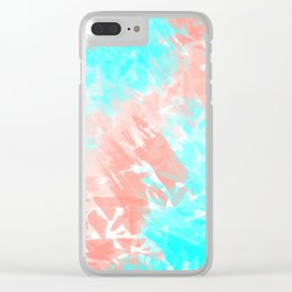 Artsy Modern Coral Cyan Abstract Art Clear iPhone Case