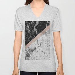 Monochrome marble designer - rose gold Unisex V-Neck
