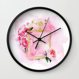 Perfume inspired No 5 fashion illustration watercolor in Pink with Peonies. Wall Clock