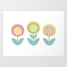 Geometric flower print  Art Print