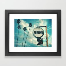 Surfing Sign Framed Art Print