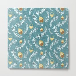 Holiday Floral Acorn Blue #Holiday #Christmas Metal Print