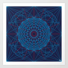 Geometric Circle Blue/Red Art Print