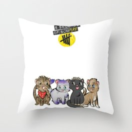 4 cats for 5 seconds - white Throw Pillow
