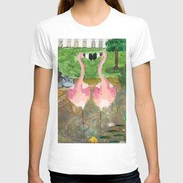 Yard Flamingo Koi Pond T-shirt