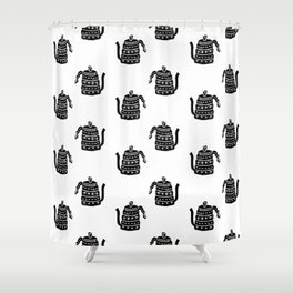 Kettle linocut black and white kitchen appliance coffee and tea water ketle Shower Curtain