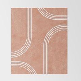 Mid Century Modern 2 - Geometrical Abstract - Minimal Print - Terracotta Abstract - Burnt Sienna Throw Blanket