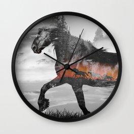 Black Horse Sunset Run Wall Clock