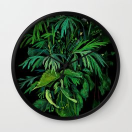Green & Black, floral art, summer greenery, pastel painting Wall Clock
