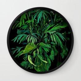 Summer Greenery, Green & Black, Floral Painting Wall Clock