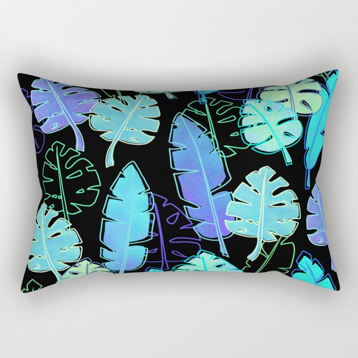 tropic leaves pattern (monstera and the bird of paradise) Rectangular Pillow