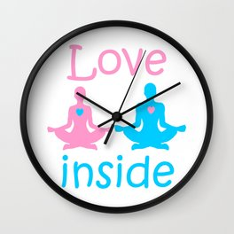 Love inside - a couple of yogis in the Lotus position meditate at  Valentine's day with hearts Wall Clock