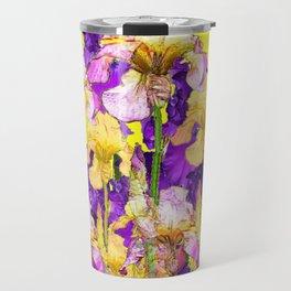 Purple Yellow & Purple Iris Flowers Travel Mug