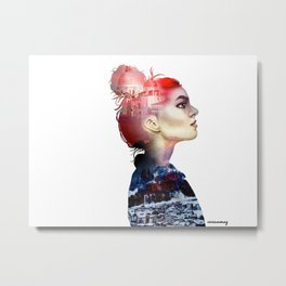 Double Exposure Girl Drawing (PART I) Metal Print