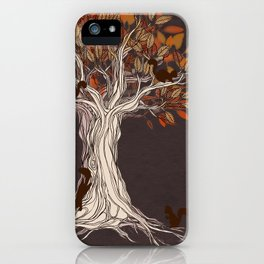 Little Visitors - Autumn tree illustration with squirrels iPhone Case