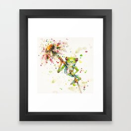 Hello There Bright Eyes (Green Tree Frog) Framed Art Print